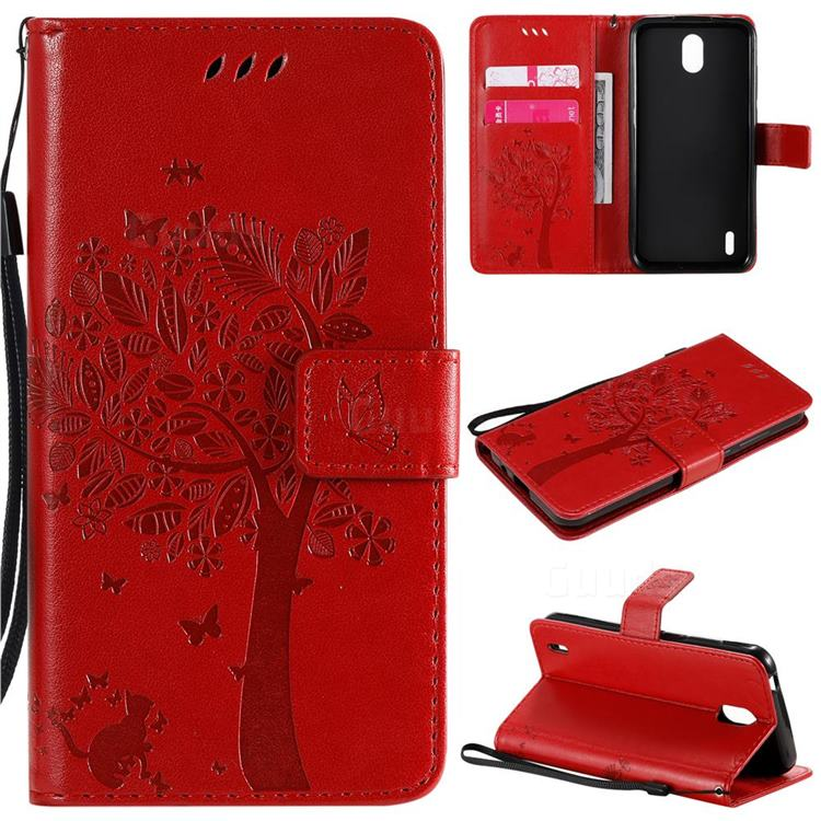 Embossing Butterfly Tree Leather Wallet Case for Nokia 1.3 - Red