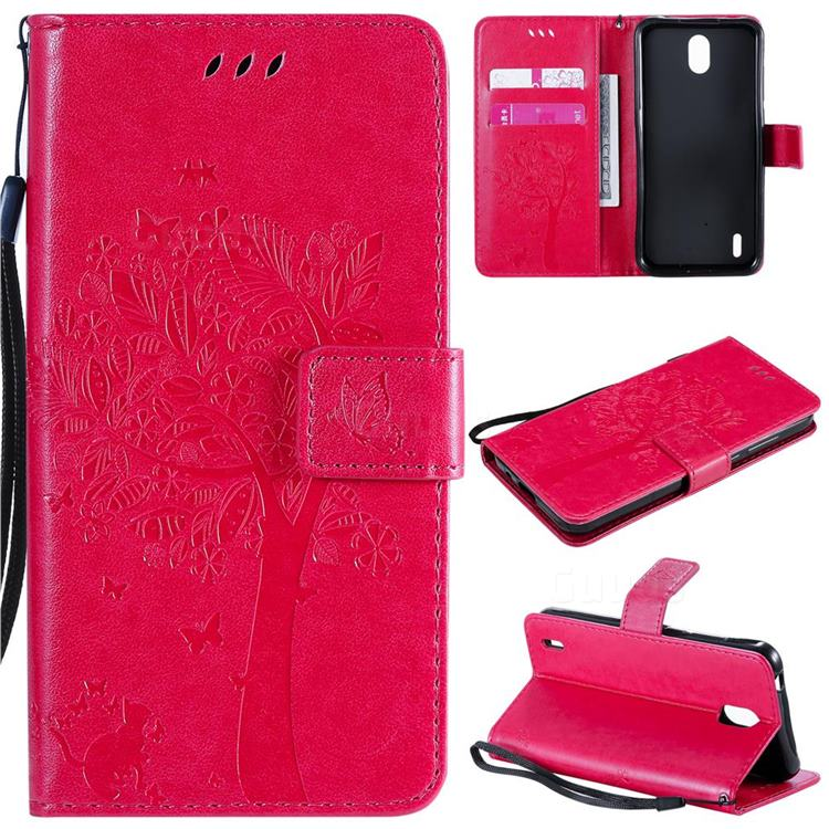 Embossing Butterfly Tree Leather Wallet Case for Nokia 1.3 - Rose