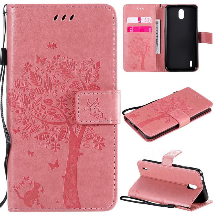 Embossing Butterfly Tree Leather Wallet Case for Nokia 1.3 - Pink