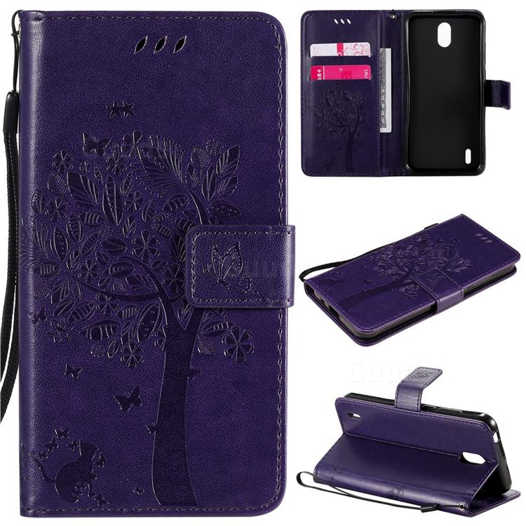 Embossing Butterfly Tree Leather Wallet Case for Nokia 1.3 - Purple