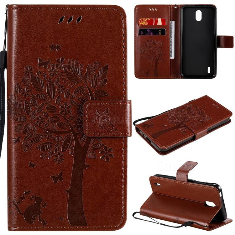 Embossing Butterfly Tree Leather Wallet Case for Nokia 1.3 - Coffee