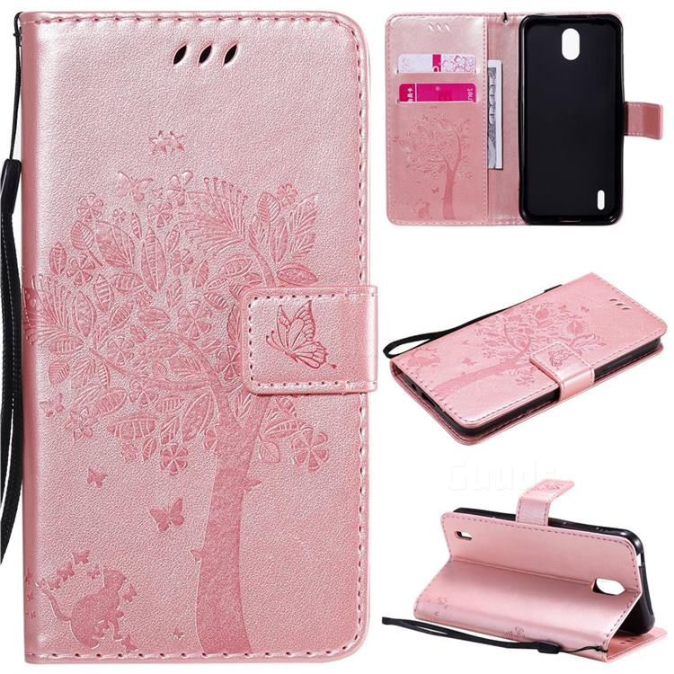 Embossing Butterfly Tree Leather Wallet Case for Nokia 1.3 - Rose Pink