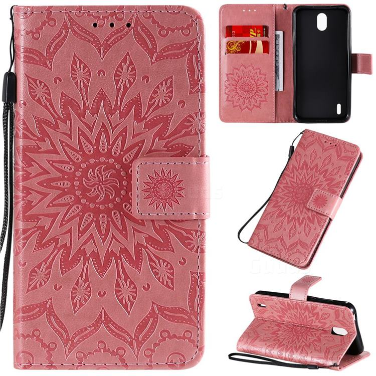 Embossing Sunflower Leather Wallet Case for Nokia 1.3 - Pink