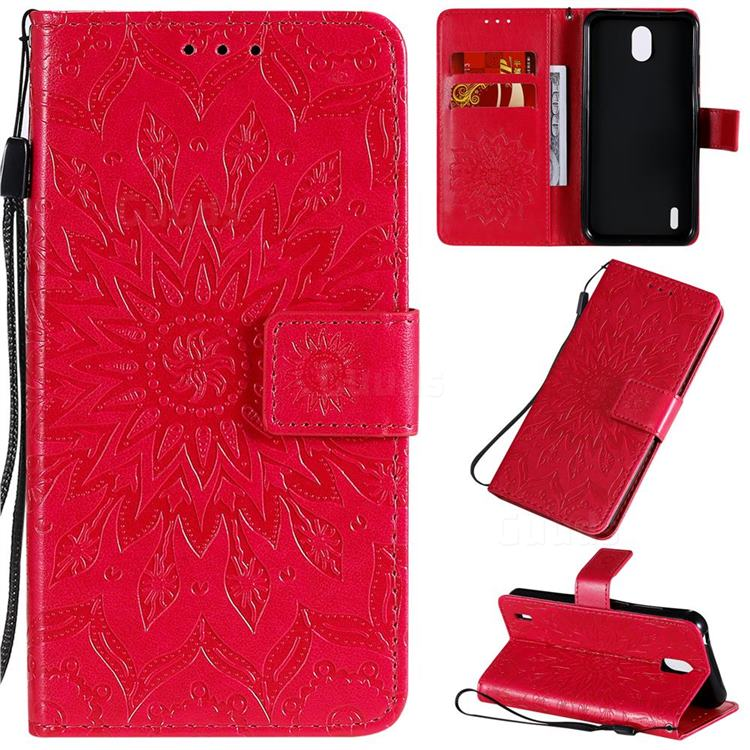 Embossing Sunflower Leather Wallet Case for Nokia 1.3 - Red