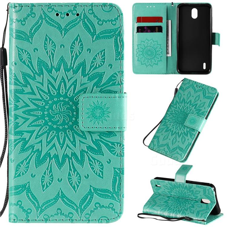 Embossing Sunflower Leather Wallet Case for Nokia 1.3 - Green