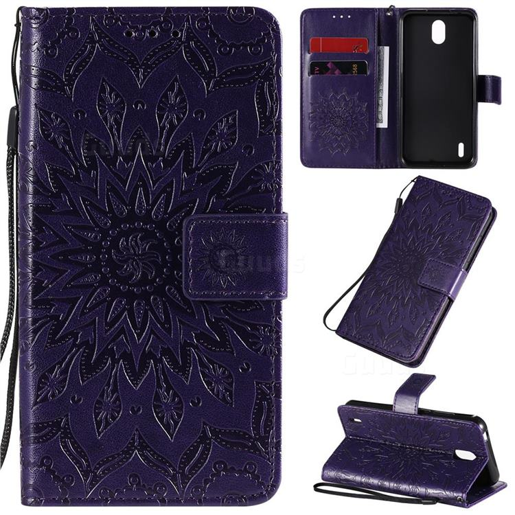 Embossing Sunflower Leather Wallet Case for Nokia 1.3 - Purple