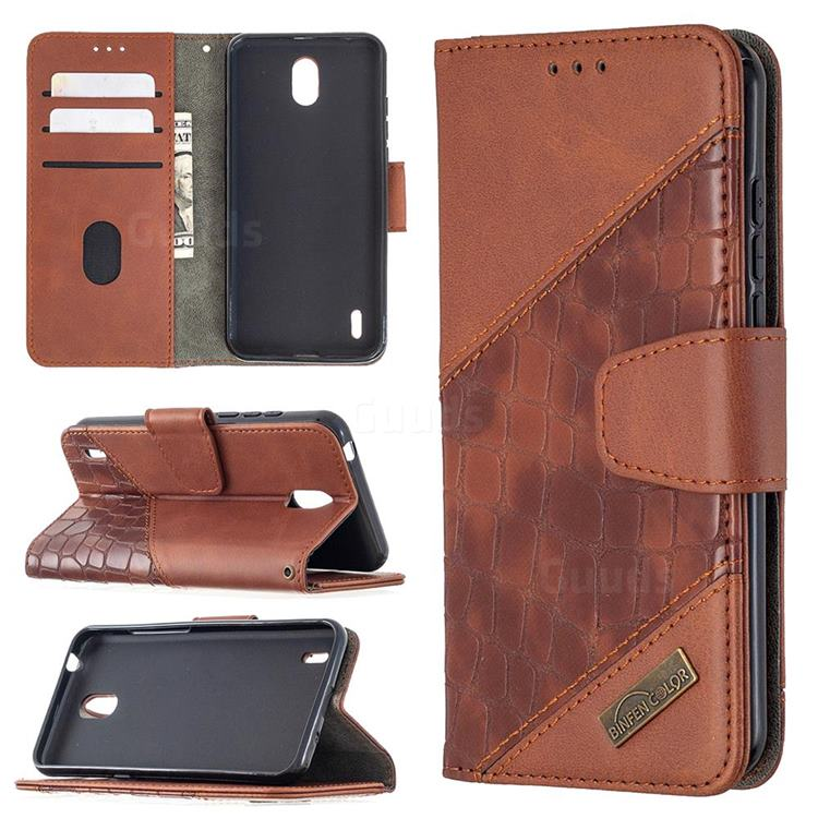 BinfenColor BF04 Color Block Stitching Crocodile Leather Case Cover for Nokia 1.3 - Brown