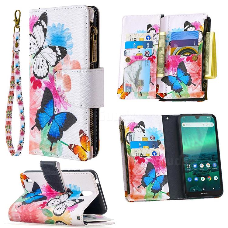 Vivid Flying Butterflies Binfen Color BF03 Retro Zipper Leather Wallet Phone Case for Nokia 1.3