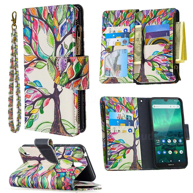 The Tree of Life Binfen Color BF03 Retro Zipper Leather Wallet Phone Case for Nokia 1.3