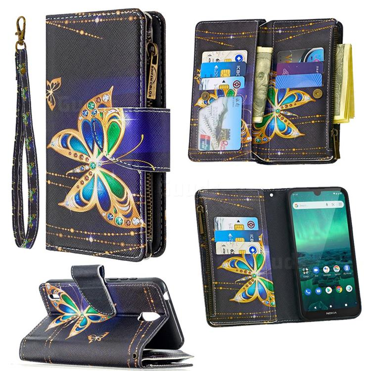 Golden Shining Butterfly Binfen Color BF03 Retro Zipper Leather Wallet Phone Case for Nokia 1.3