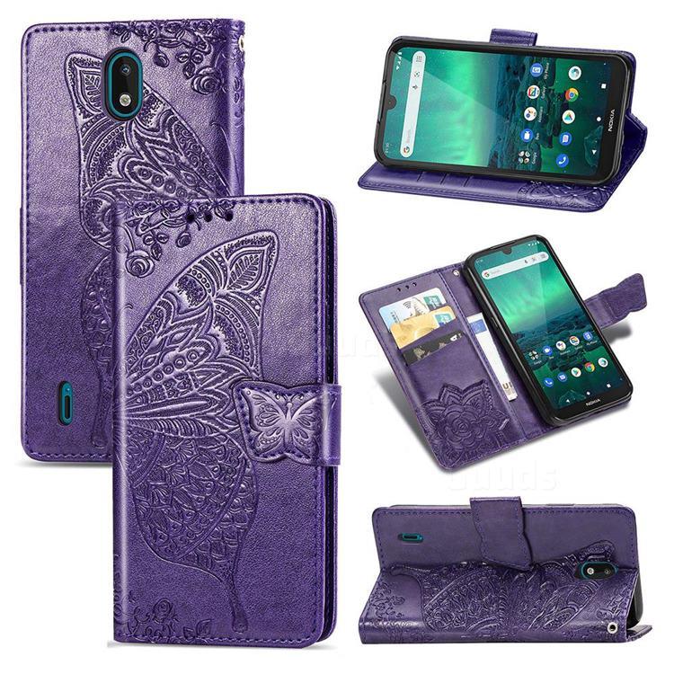Embossing Mandala Flower Butterfly Leather Wallet Case for Nokia 1.3 - Dark Purple