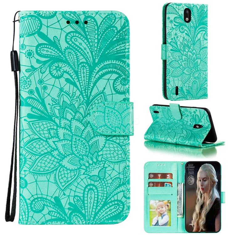 Intricate Embossing Lace Jasmine Flower Leather Wallet Case for Nokia 1.3 - Green