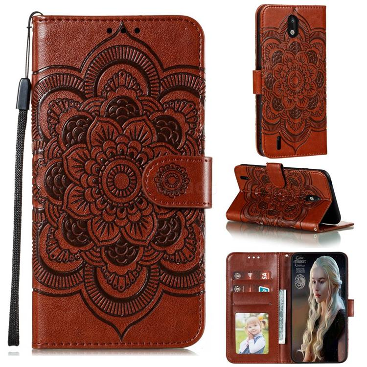 Intricate Embossing Datura Solar Leather Wallet Case for Nokia 1.3 - Brown