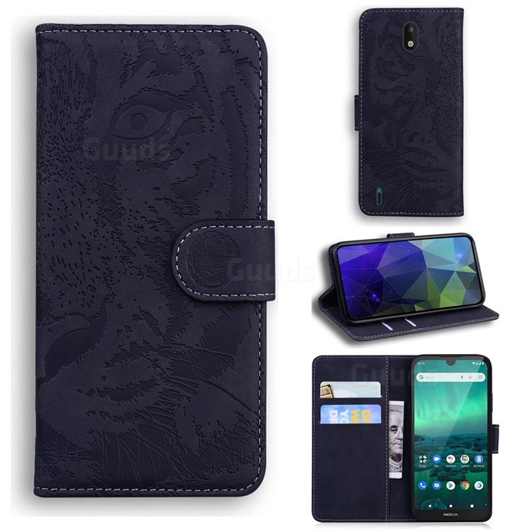 Intricate Embossing Tiger Face Leather Wallet Case for Nokia 1.3 - Black