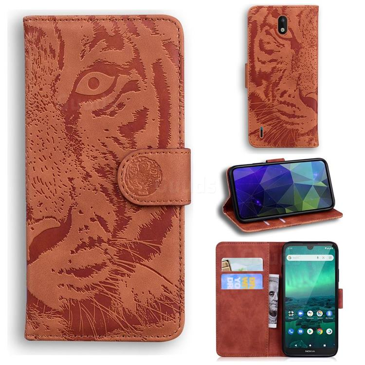 Intricate Embossing Tiger Face Leather Wallet Case for Nokia 1.3 - Brown