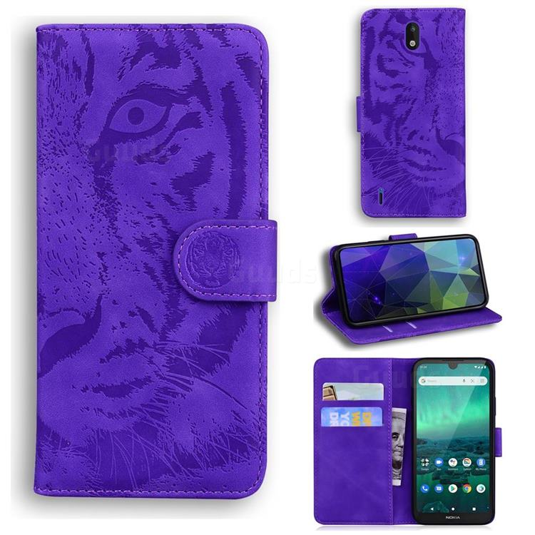 Intricate Embossing Tiger Face Leather Wallet Case for Nokia 1.3 - Purple