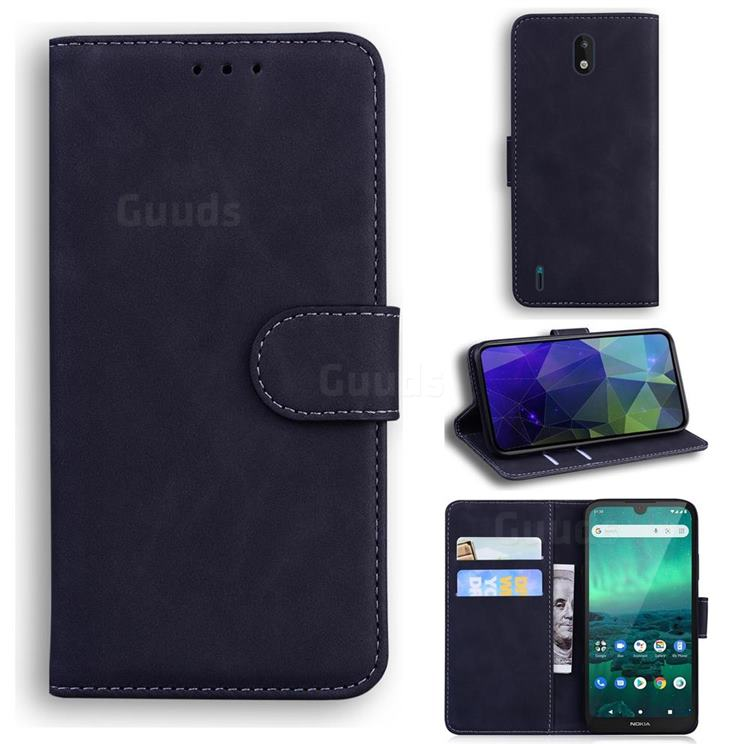Retro Classic Skin Feel Leather Wallet Phone Case for Nokia 1.3 - Black