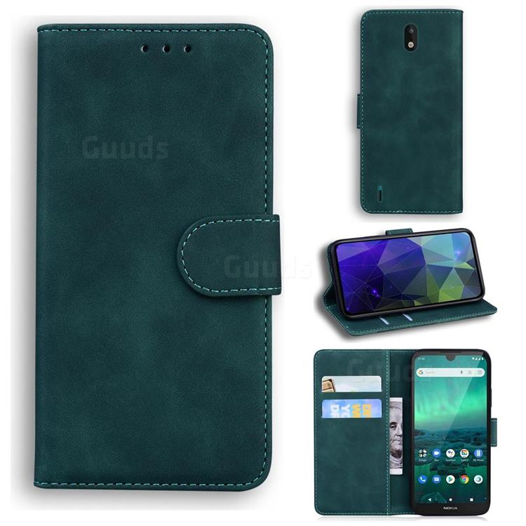 Retro Classic Skin Feel Leather Wallet Phone Case for Nokia 1.3 - Green