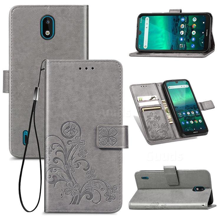 Embossing Imprint Four-Leaf Clover Leather Wallet Case for Nokia 1.3 - Grey