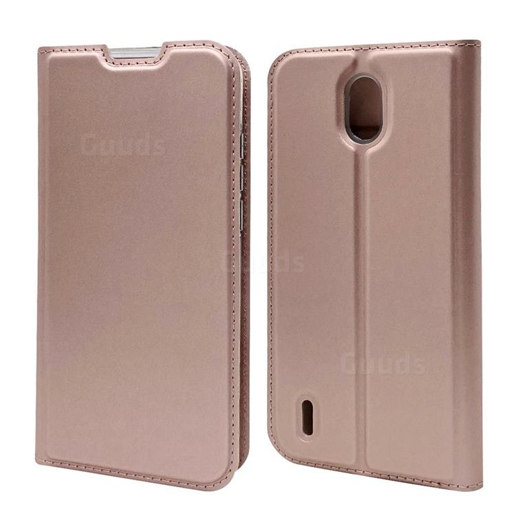 Ultra Slim Card Magnetic Automatic Suction Leather Wallet Case for Nokia 1.3 - Rose Gold