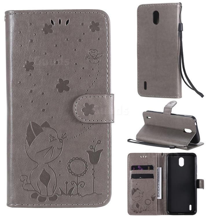Embossing Bee and Cat Leather Wallet Case for Nokia 1.3 - Gray