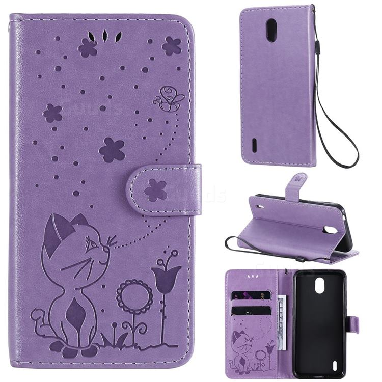 Embossing Bee and Cat Leather Wallet Case for Nokia 1.3 - Purple