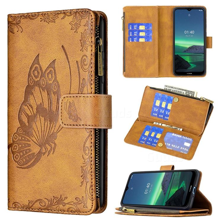 Binfen Color Imprint Vivid Butterfly Buckle Zipper Multi-function Leather Phone Wallet for Nokia 1.4 - Brown