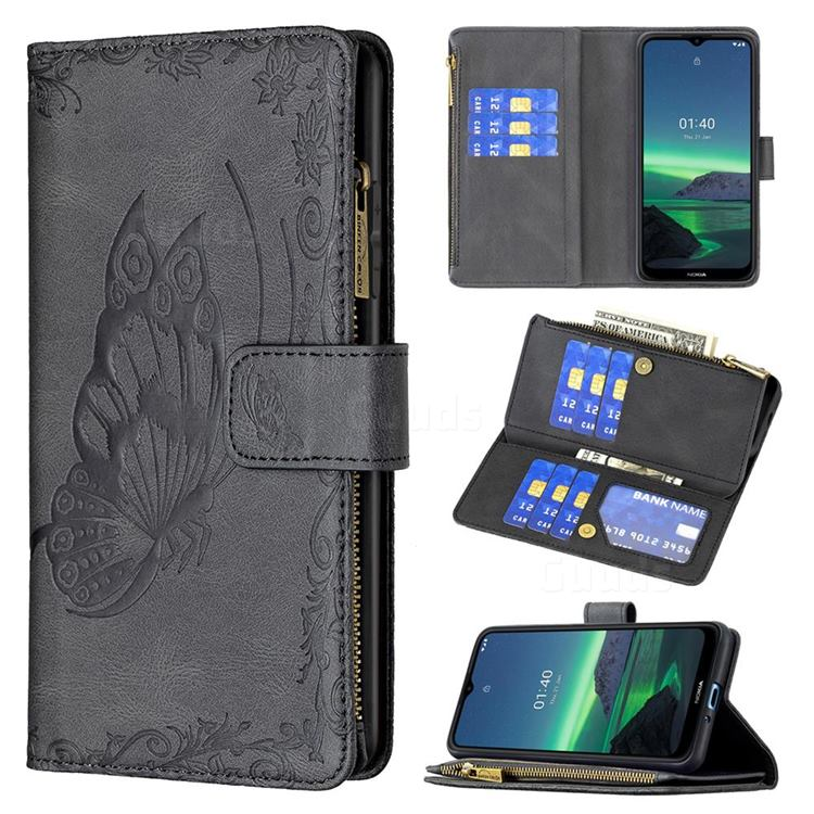Binfen Color Imprint Vivid Butterfly Buckle Zipper Multi-function Leather Phone Wallet for Nokia 1.4 - Black