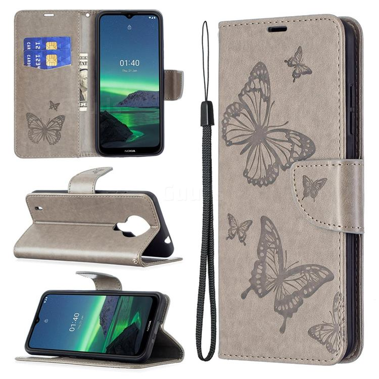Embossing Double Butterfly Leather Wallet Case for Nokia 1.4 - Gray