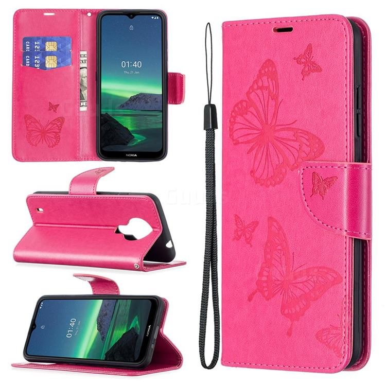 Embossing Double Butterfly Leather Wallet Case for Nokia 1.4 - Red