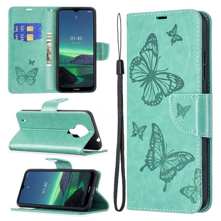 Embossing Double Butterfly Leather Wallet Case for Nokia 1.4 - Green