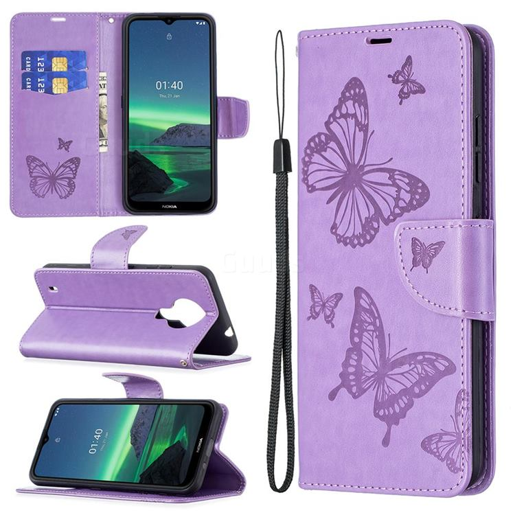 Embossing Double Butterfly Leather Wallet Case for Nokia 1.4 - Purple