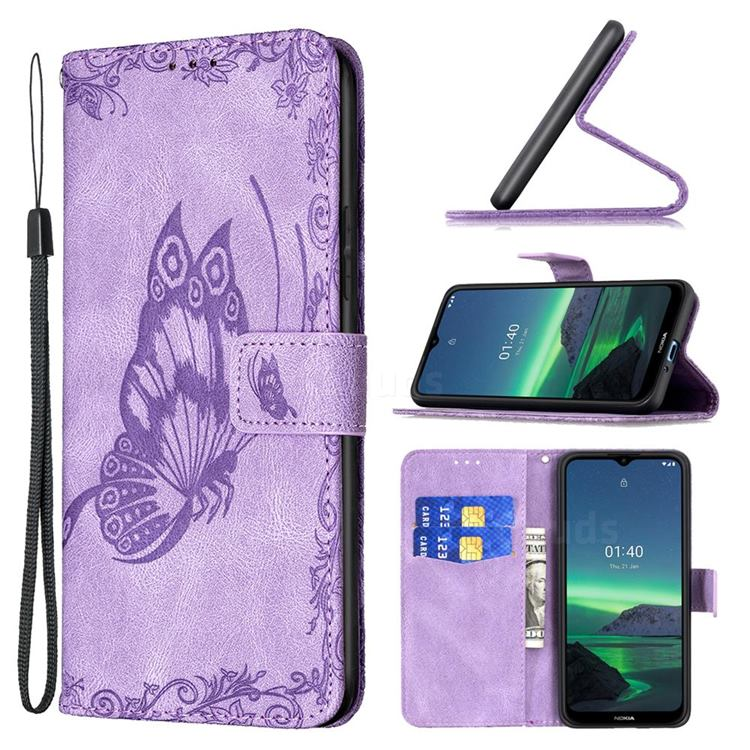 Binfen Color Imprint Vivid Butterfly Leather Wallet Case for Nokia 1.4 - Purple