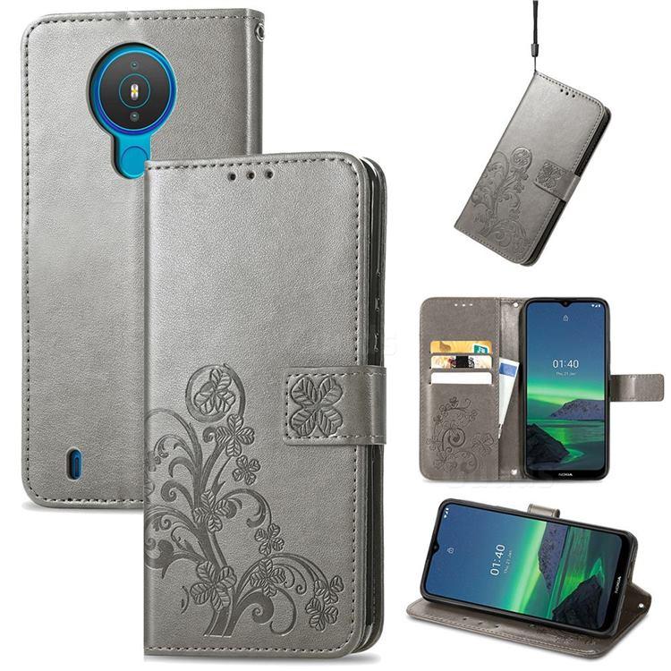 Embossing Imprint Four-Leaf Clover Leather Wallet Case for Nokia 1.4 - Grey