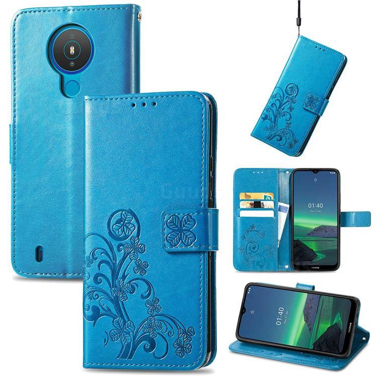 Embossing Imprint Four-Leaf Clover Leather Wallet Case for Nokia 1.4 - Blue