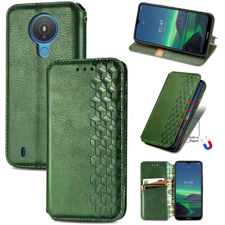 Ultra Slim Fashion Business Card Magnetic Automatic Suction Leather Flip Cover for Nokia 1.4 - Green