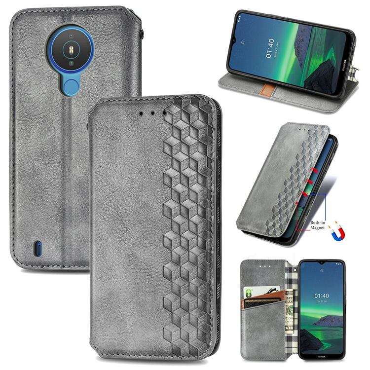 Ultra Slim Fashion Business Card Magnetic Automatic Suction Leather Flip Cover for Nokia 1.4 - Grey