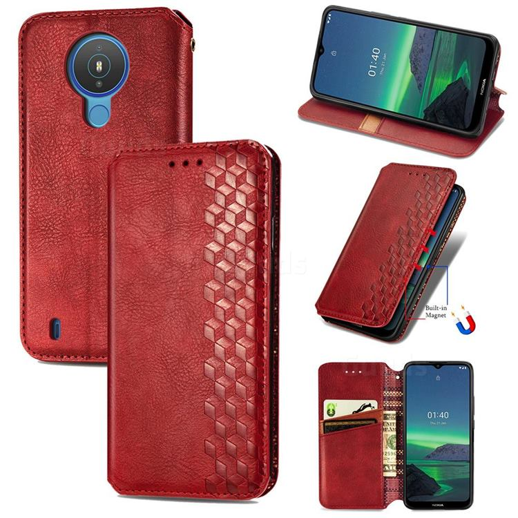 Ultra Slim Fashion Business Card Magnetic Automatic Suction Leather Flip Cover for Nokia 1.4 - Red