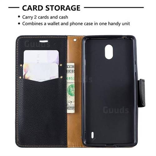 official photos e2733 ff0ff Classic Luxury Litchi Leather Phone Wallet Case for Nokia 1 Plus (2019) -  Black