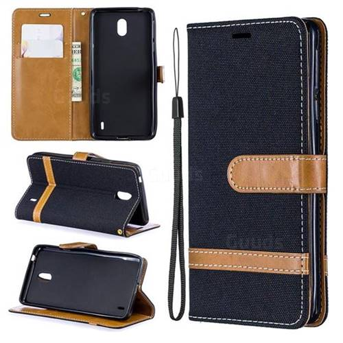 Jeans Cowboy Denim Leather Wallet Case for Nokia 1 Plus (2019) - Black