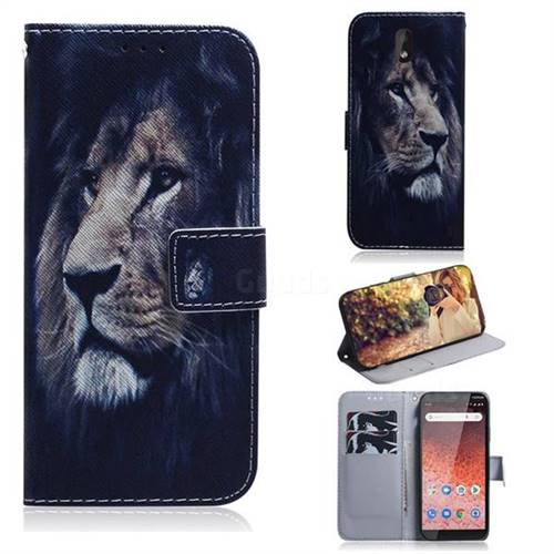 Lion Face PU Leather Wallet Case for Nokia 1 Plus (2019)