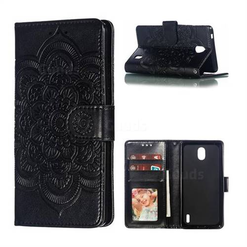 Intricate Embossing Datura Solar Leather Wallet Case for Nokia 1 Plus (2019) - Black