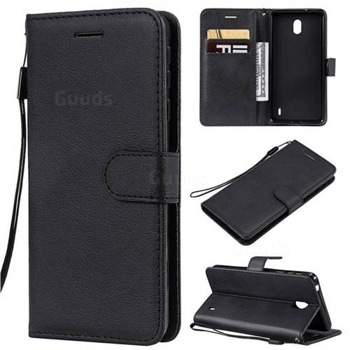 Retro Greek Classic Smooth PU Leather Wallet Phone Case for Nokia 1 Plus (2019) - Black