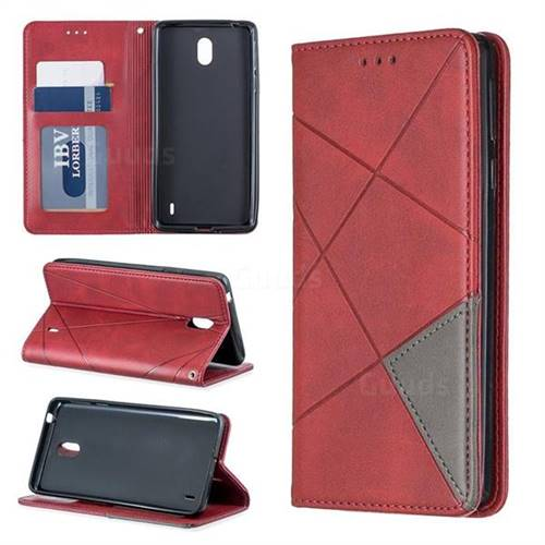 on sale 44b51 ba411 Prismatic Slim Magnetic Sucking Stitching Wallet Flip Cover for Nokia 1  Plus (2019) - Red