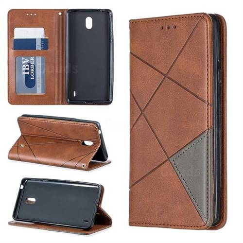 Prismatic Slim Magnetic Sucking Stitching Wallet Flip Cover for Nokia 1 Plus (2019) - Brown