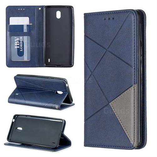 Prismatic Slim Magnetic Sucking Stitching Wallet Flip Cover for Nokia 1 Plus (2019) - Blue