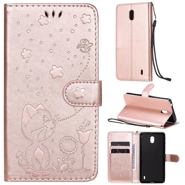 Embossing Bee and Cat Leather Wallet Case for Nokia 1 Plus (2019) - Rose Gold