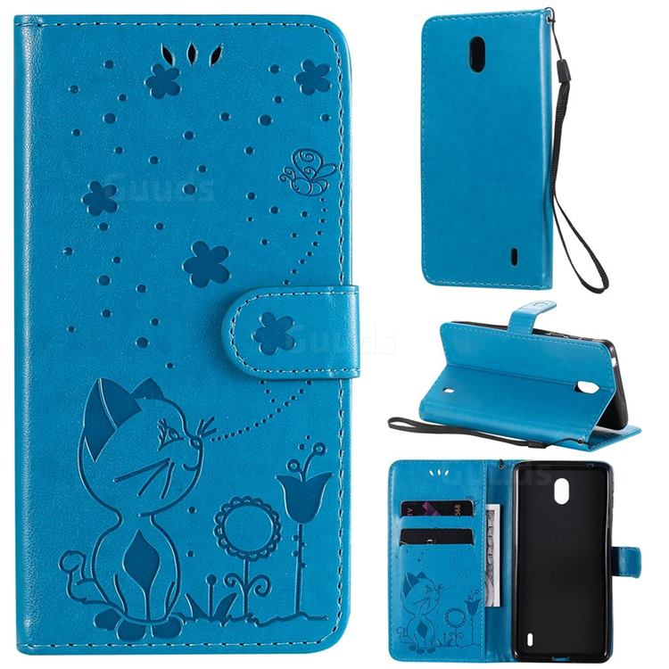 Embossing Bee and Cat Leather Wallet Case for Nokia 1 Plus (2019) - Blue