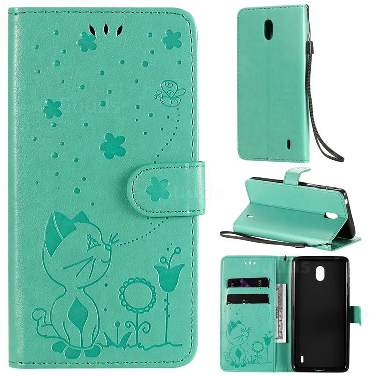 Embossing Bee and Cat Leather Wallet Case for Nokia 1 Plus (2019) - Green