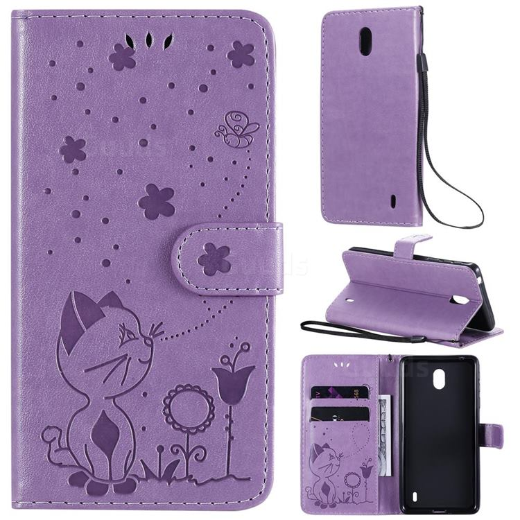 Embossing Bee and Cat Leather Wallet Case for Nokia 1 Plus (2019) - Purple